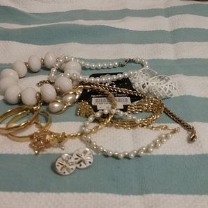 White Party Jewelry Collection,EUC,Gold tones